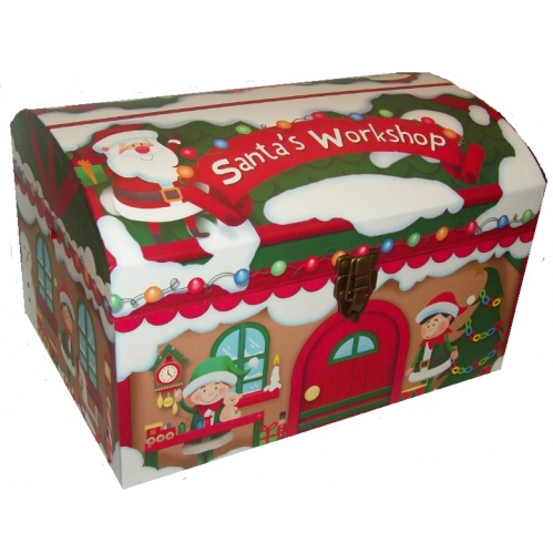 Small Cute Santas Workshop Christmas Eve Chest Treasure Box 40cm x 29cm x 25cm