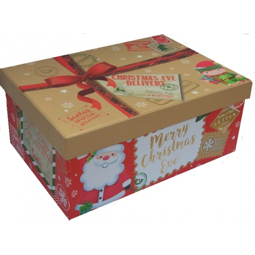 Large Cute Christmas Eve Shoe Gift Pj Box Present Delivery 33cm x 23cm x 16cm