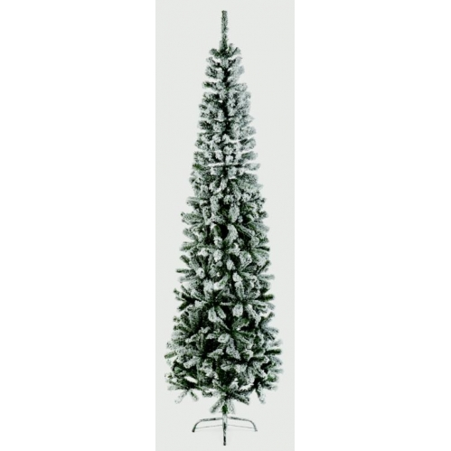 2.2M Flocked Artificial Slim Spruce Pine Christmas Tree Festive Decoration 220cm