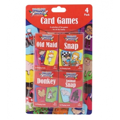 4 x Childrens Card Games Old Maid Animal Snap Donkey & Snap Fun Family Learning