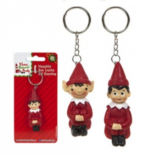 Elves Behavin Badly Christmas Elf Novelty Single Keyring Naughtly But Lucky Elf