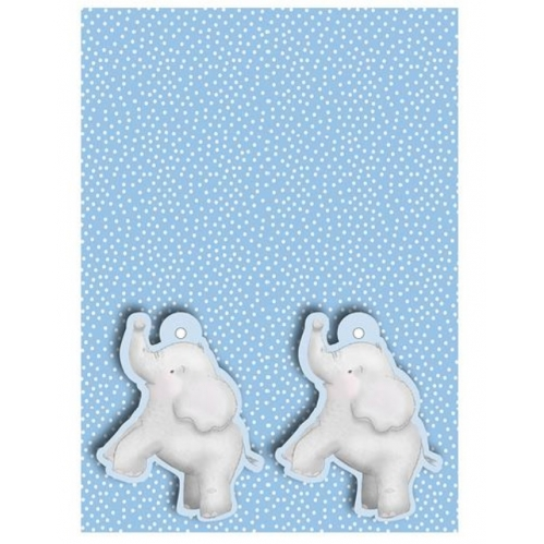2 Sheets Of Blue Gift Wrapping Paper & 2 Elephant Gift Tags 50cm x 70cm Sheets