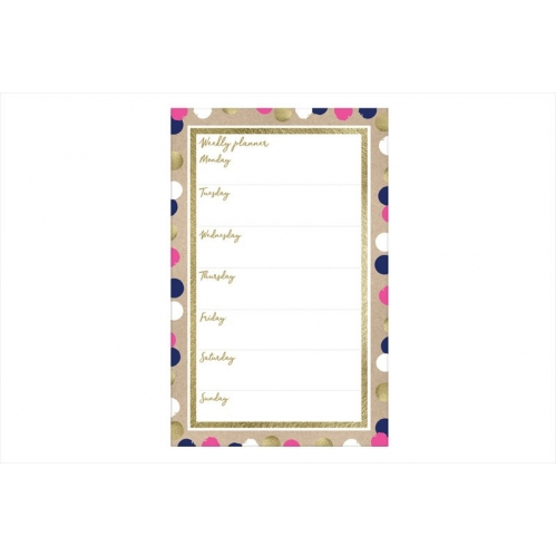 Magnetic Gem Gold Weekly Planner Notepad, 52 Sheets, Size 230mm x 148mm