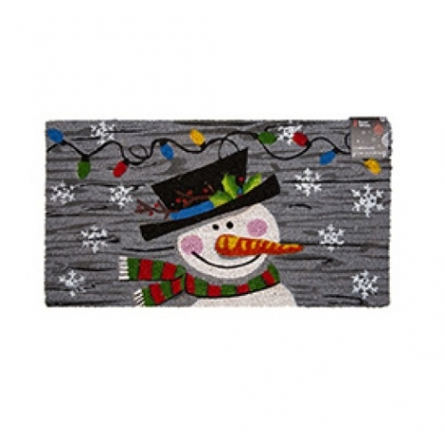 Snowman Novelty Festive Christmas Door Step Mat Coir Rubber Backed 35cm X 65cm