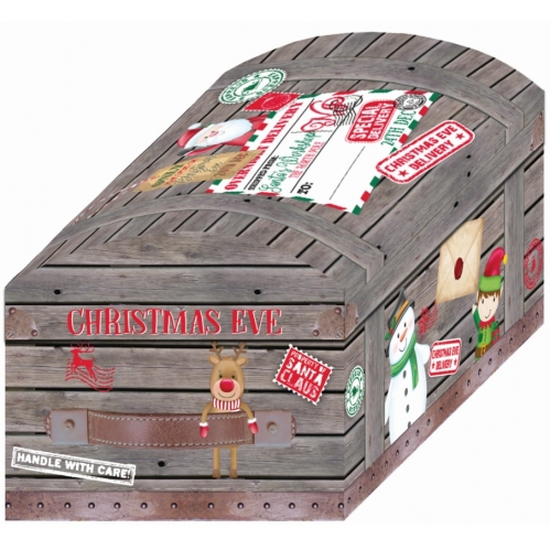 40cm Cute Grey Christmas Eve Treasure Chest PJ Gift Box Night Before Christmas