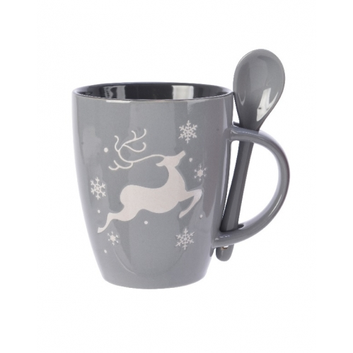 Grey Stoneware Christmas Drinking Mug & Spoon Gift Set With Reindeer Snowflake