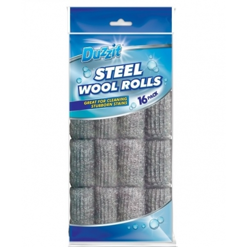 Duzzit Pack Of 16 Steel Wire Wool Rolls Scouring Pad Cleaning Rust Stain Remover