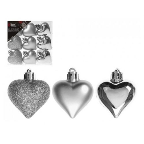 Pack Of 9 Assorted Heart Shaped Christmas Tree Baubles Decorations - Silver