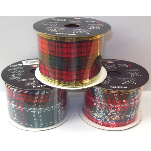 2M x 5cm Wide Tartan Christmas Wrapping Parcel Ribbon Red Green