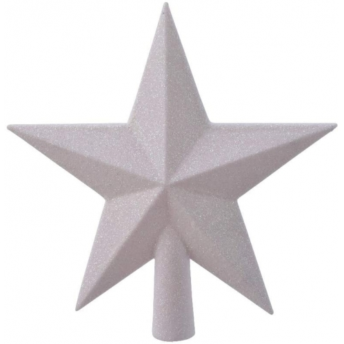 White Iris Glitter Tree Topper Star Plastic Shatterproof Tree Decoration 19cm