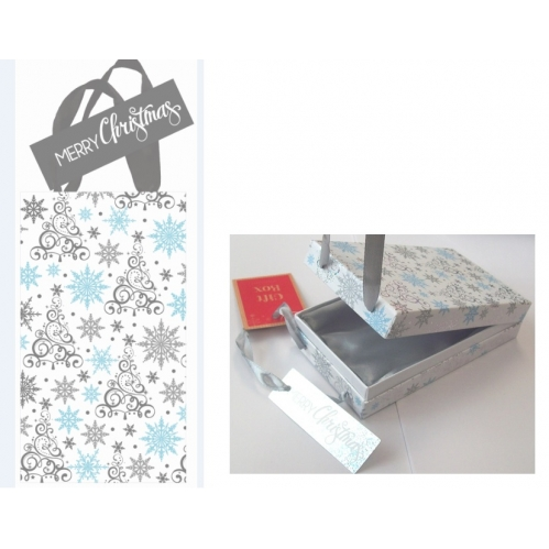 Silver Swirl Snowflake Christmas Silk Lined Small Jewellery Phone Case Gift Box