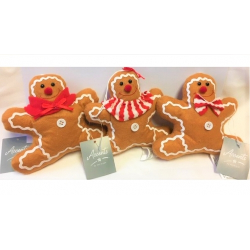 1 Premier Hanging Plush Gingerbread Man Novelty Christmas Tree Decoration 13cm