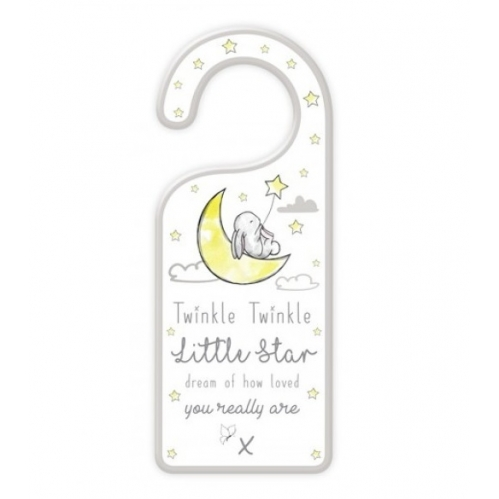 Wooden Baby Door Hanger Plaque Unisex Yellow Twinkle Twinkle Star Loved You Are