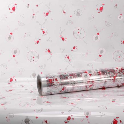 10M x 80cm Christmas Clear Cellophane Gift Wrap With Trendy Swirl Star Santa