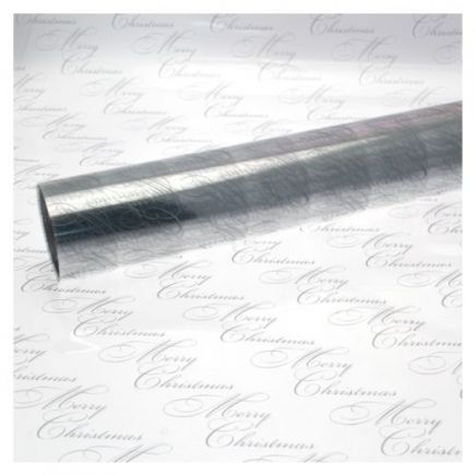 5M x 80cm Christmas Clear Cellophane Gift Wrap Merry Christmas Script - SILVER
