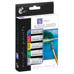Chiltern Arts Pack Of 6 Acrylic Paints Artist Craft Paint Mixed Colours 12ml