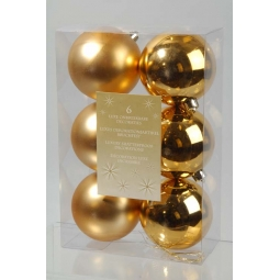6 x Decoris Luxury Shatterproof Christmas Baubles Tree Decorations 8cm Gold Matt Shine