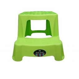 Children 2 Step Plastic Stool Bathroom Reaching Stool Home Ktichen Stool- Green