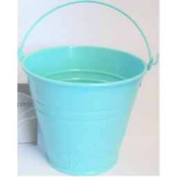 Blue Pastel Small Metal Bucket Flower Plant Pot Sweet Tin Wedding 11.5cm