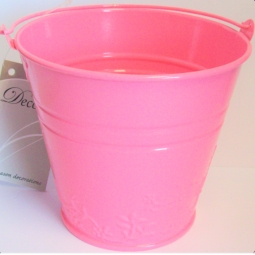 Pink Pastel Small Metal Bucket Flower Plant Pot Sweet Tin Wedding 11.5cm