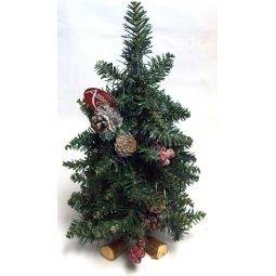 75cm Frosted Sherwood Pine Table Christmas Tree Berries Pine Cones Cross Base
