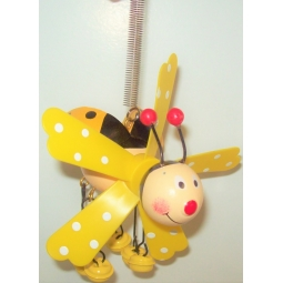 Hanging Ladybird On Spring Garden Windmill Decoration Jingle Feet - Yellow