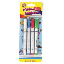 Pack Of 4 Window Markers Dry Wipe Board Ink Marker Pens White Pink Green Blue