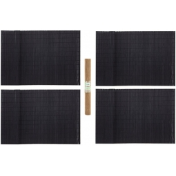 Set Of 4 Dark Bamboo Table Dinner Plate Placemats Biodegradable Roll Up Mat