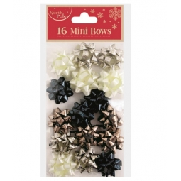 Pack Of 16 Mini Self Adhesive Metallic Gift Bows 2.5cm Navy Cream Copper Gold