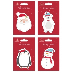 4 Christmas Character Cute Sticky Notes Pads Santa Penguin Snowman Polar Bear