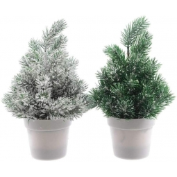 Set Of 2 Green Frosted Snow Covered Mini Pot Christmas Tree Decorations 20cm