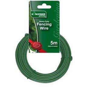 Kingfisher 5m Heavy Duty 3mm Plastic Coated Fence Wire Green Multi-purpose Use