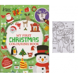 My First Kids Christmas Colouring Book Large Print Cute 48 Page & Sticker Sheet