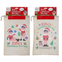 Set Of 2 Elfies Christmas Eve Sacks Drawstring Goodie Bags Pj Bag 43.5cm x 28cm