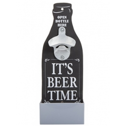 Novelty Wall Mounted Bottle Opener Plaque Fathers Day With Bottle Cap Tray Black