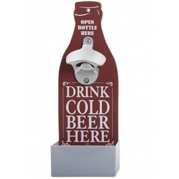 Novelty Wall Mounted Bottle Opener Plaque Fathers Day With Bottle Cap Tray - Red