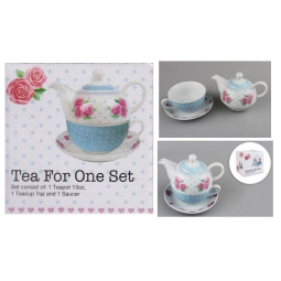 Vintage Rose Afternoon Tea For One Serving Set 13oz Teapot 7oz Teacup & Saucer