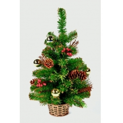 Gold Dressed Frosted Gold Tipped Table Top Christmas Tree 60cm 2ft 61 Tips