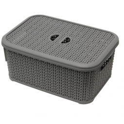 6L Loop Effect Grey Rectangle Plastic Storage Basket With Lid 28cm x 20cm x 12cm