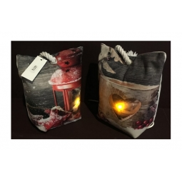Red Star Lantern Design Light Up LED Heavy Weight Fabric Door Stop