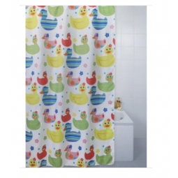 Blue Canyon Peva Rail Ring Shower Curtain 180cm x 180cm Washable Coloured Ducks