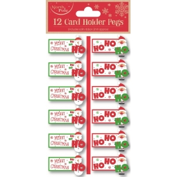 12 Christmas Card Holder Ho Ho Pegs