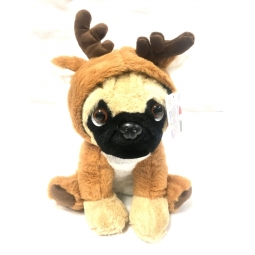 Reindeer Dressed Cute 20cm Christmas Pug Dog Suited Soft Cuddly Toy