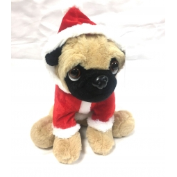 Santa Dressed Cute 20cm Christmas Pug Dog Suited Soft Cuddly Toy Festive