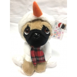 Snowman Dressed Cute 20cm Christmas Pug Dog With Tartan Scarf Soft Cuddly Toy