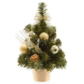 Everlands Miniature Artificial Christmas Tree In Basket Golden Decorations 20cm