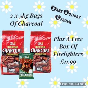 2 x 5KG Bags Of Fuel Express BBQ Barbecue Charcoal Briquettes + Firelighters