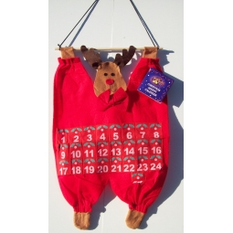 Christmas Fabric Advent Calender Countdown To Xmas 25 Pocket - Cute Rudolph