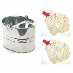 9L Strong Steel Galvanised Mop Bucket With Perforated Drainer+ 2 14PY Mop Heads