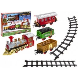 Deluxe Christmas Toy Train Set 14pcs With Sound & Light Action Battery Operated